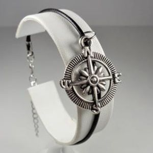 Jewelry - NAUTICAL COMPASS ROSE BLACK LEATHER BRACELET
